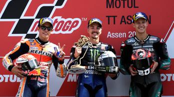 Rossi-KO, Vinales-győzelem Assenben