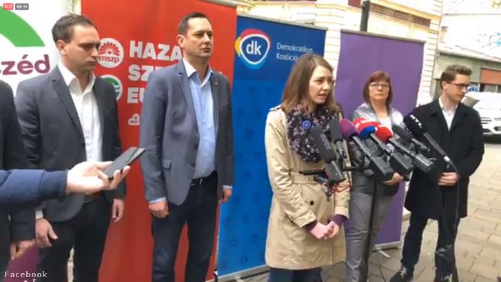 MSZP, a Párbeszéd, a Demokratikus Koalíció (DK) és a Momentum bejelentése a közös jelöltekről 2019. április 6-án