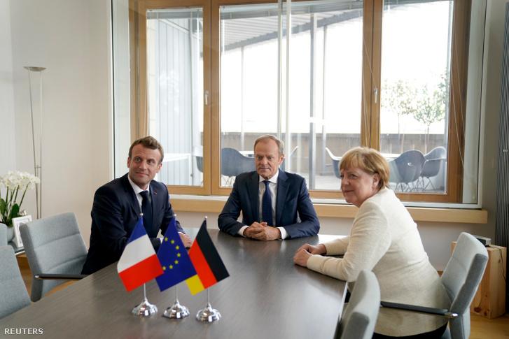 Donald Tusk korábbi brüsszeli tárgyalása Emmanuel Macronnal és Angela Merkellel 2019. június 20-án