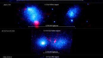 Éppen összeütköző galaxishalmazokat örökítettek meg