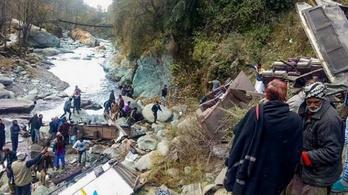 150 méteres szakadékba borult egy busz Indiában: 33 halott