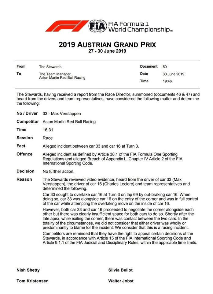 Az igazi FIA-közlemény az ítélettel