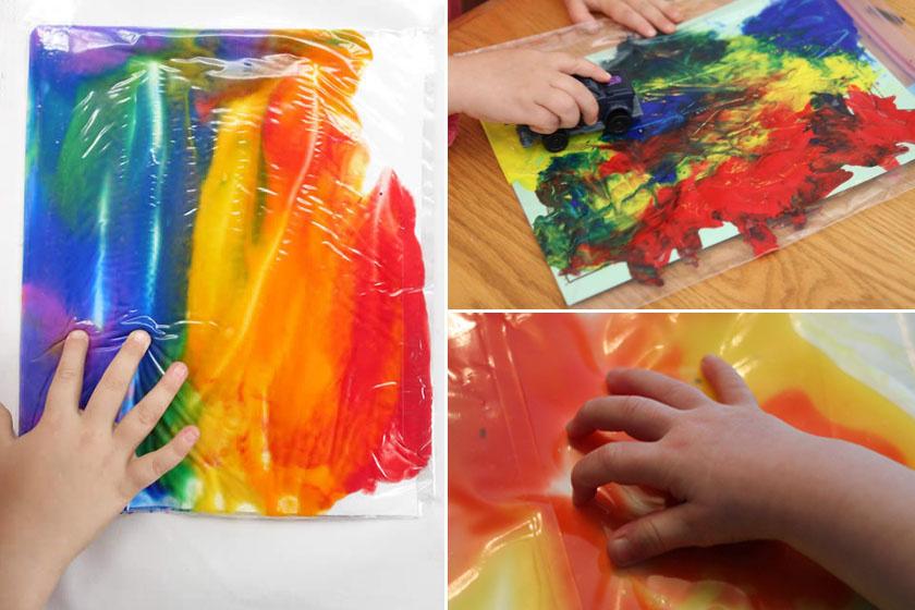 Tegyetek festéket műanyag irattartó tasakba vagy mélyhűtőbe rakható, vastag nejlonzacskóba, és ragasszátok az asztalhoz vagy az ablakra. A kavargó festék, főleg, ha többszínű, és különböző tárgyakkal is csíkozhat benne, rendkívül érdekes játék lesz a kisgyerek számára.