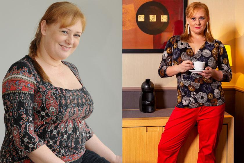 Cseke Katinka a Jóban Rosszban duci Böbéjeként és 30 kilós fogyása után.