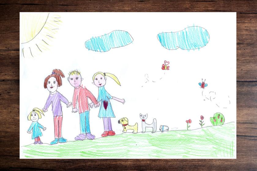 Ezen a rajzon a legkisebb a rajzoló, a nála nem sokkal idősebb nővére a jobb oldalra került. A rajzoló a testvére személyét a sajátjánál jelentősebbnek ítélheti meg a családban, mert bár korban nem állnak távol, rajzolt méretükben a testvér szinte kétszer akkora.