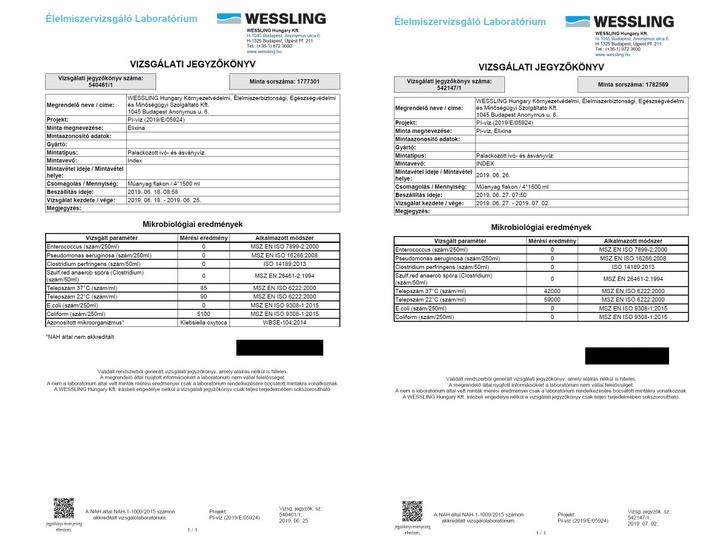 Az első és a második minta mikrobiológiai vizsgálatának jegyzőkönyvei