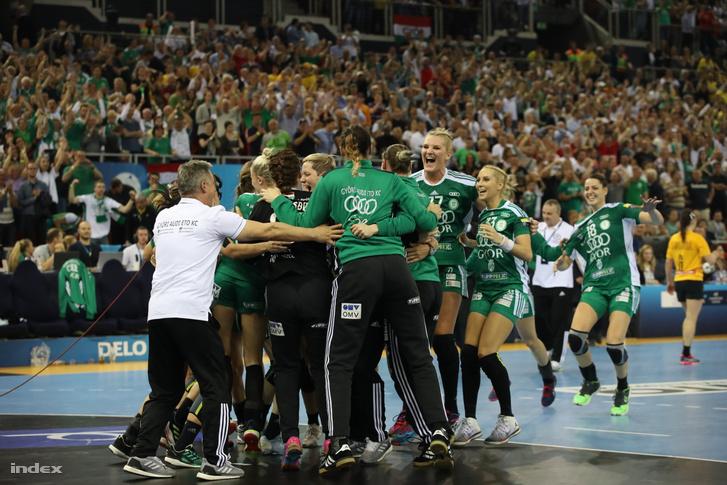 A sorban harmadik BL-győzelmét ünneplő Győr