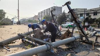 Tornádó pusztított Kínában, 6 halott, 200 sérült