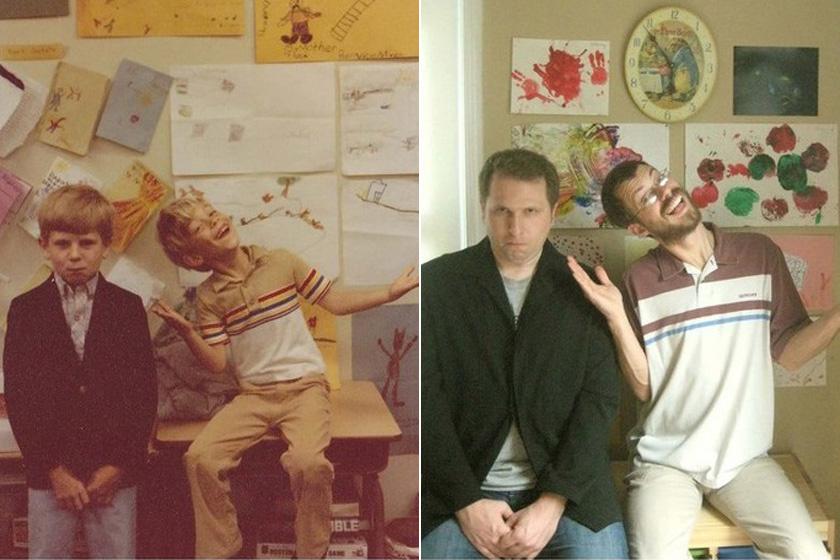 Az első kép gyermekkorukban, a második 29 évvel később készült: a kisfiúk mára felnőtt férfivá értek, kapcsolatuk viszont szinte semmit sem változott.