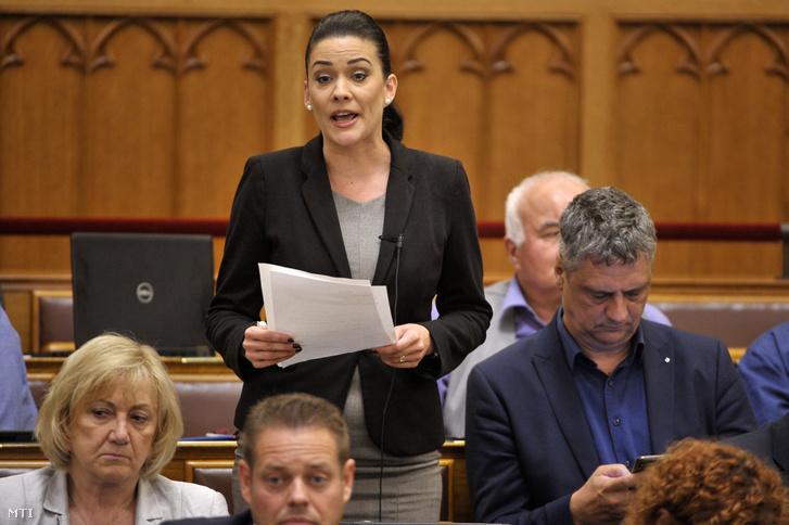 Demeter Márta az LMP képviselője interpellál az Országgyűlés plenáris ülésén 2019. július 1-jén.