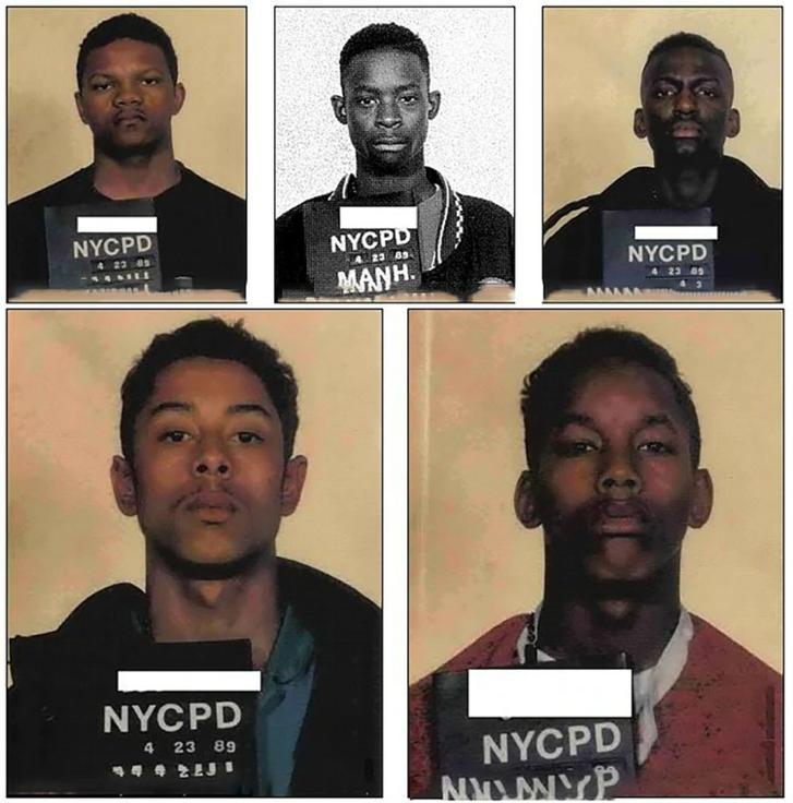 Kevin Richardson, Yusef Salaam, Antron McCray, Korey Wise és Raymond Santana rendőrségi fotója