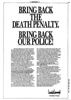 Donald Trump egész oldalas, fizetett hirdetése, amiben a halálbüntetés visszaállítását és az ötök kivégzését követelte