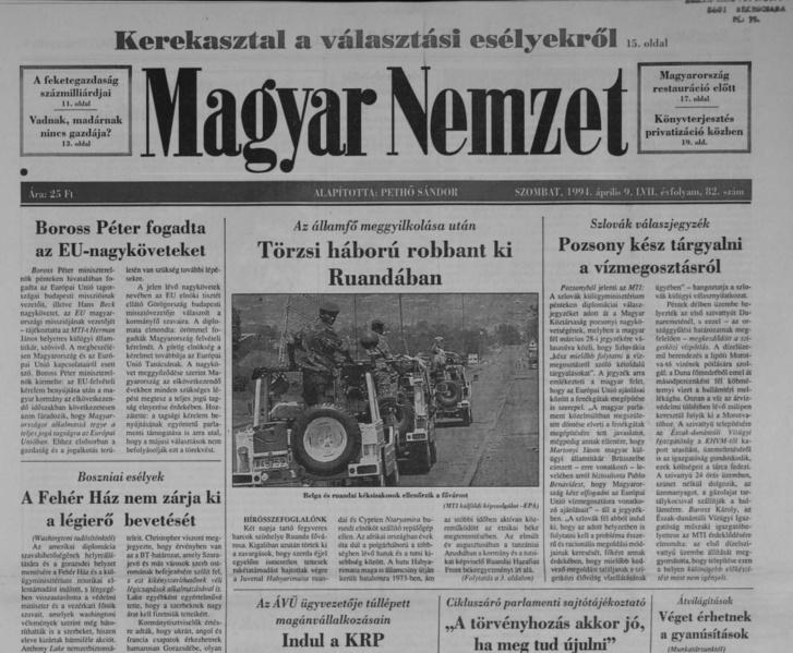 A Magyar Nemzet címlapja 1994. április 9-én. A teljes oldalért kattintson a fotóra!