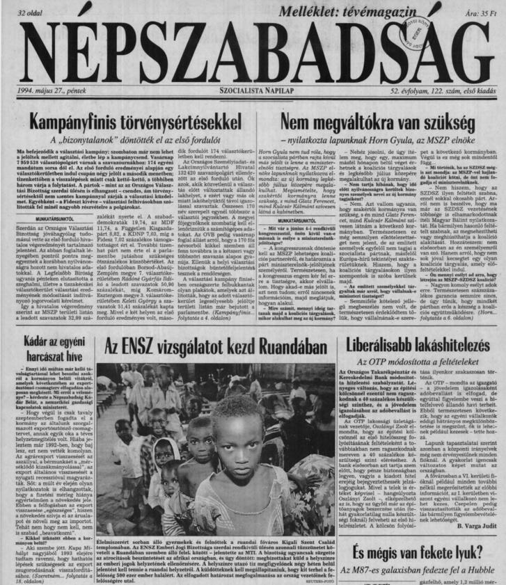 A Népszabadság címlapja 1994. május 27-én. A teljes oldalért kattintson a fotóra!