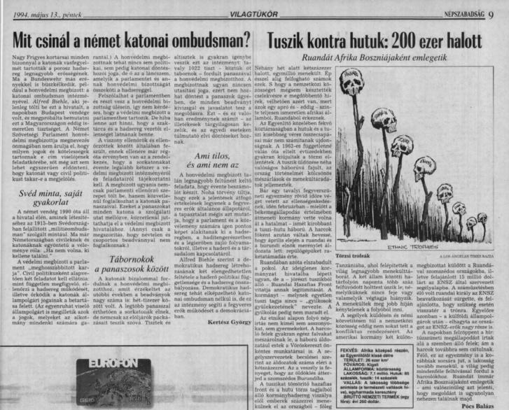 Tuszik kontra hutuk: 200 ezer halott - Népszabadság, 1994. május 13. A teljes oldalért kattintson a képre!