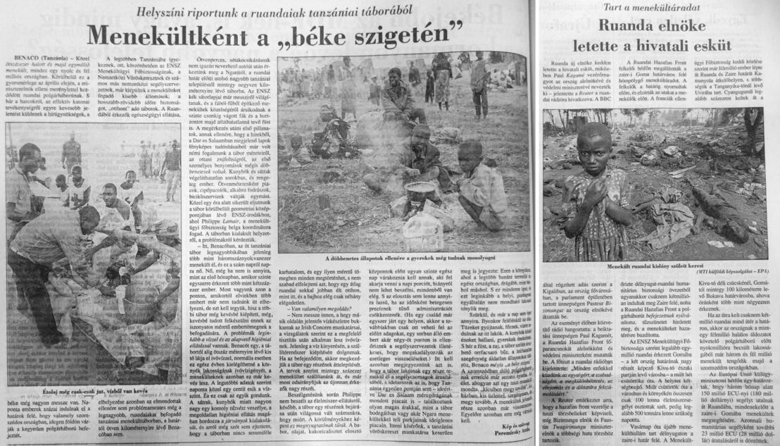 A Magyar Nemzet cikkei 1994. július 23-án és 25-én. Nagyobb méretért kattintson a képre!