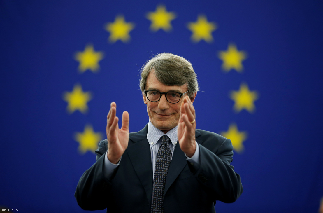 David-Maria Sassoli, olasz EP-képviselő, miután megválasztották a parlament új elnökének, július 3-án