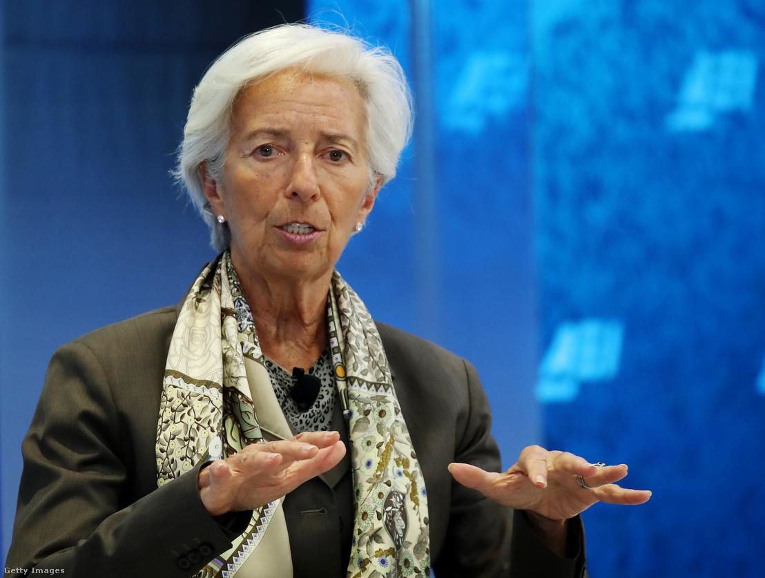 Christine Lagarde, az IMF igazgatója június 5-én, egy washingtoni világgazdasági találkozón