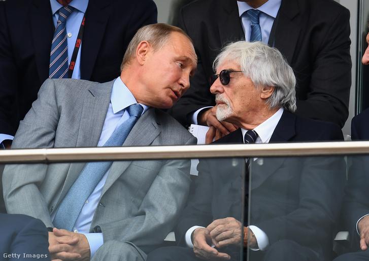Putyin és Ecclestone a 2018-as Orosz Nagydíj alatt