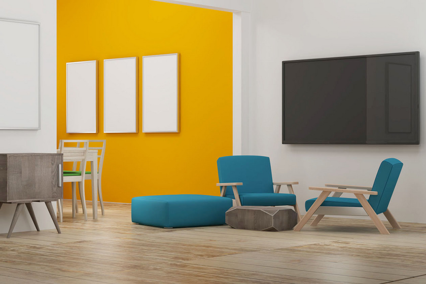 Aki régóta szemez a narancssárgával, de mostanáig nem merte kipróbálni, érdemes csak egyetlen falat ilyen színűre festenie. Emellett a fehér is izgalmasabban mutat, egy harmadik szín, ez esetben a királykék pedig tovább emeli a helyiség különlegességét.