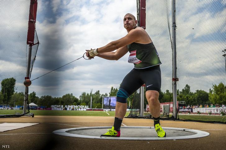 Halász Bence a férfi kalapácsvetés késõbbi második helyezettje a Gyulai István Memorial nemzetközi atlétikai versenyen Székesfehérváron 2019. július 9-én