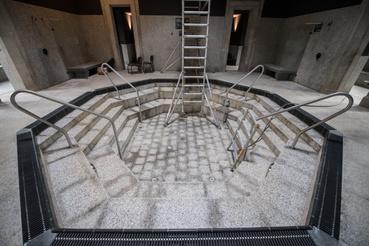 A török fürdő medencéje. Ebben sima termálvíz lesz
