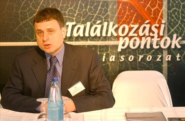 """Tóth István Zoltán, az Országimázs Központ vezetőjeként 2002-ben, a """"Millennium - gazdaság és országkép"""" konferencián."""