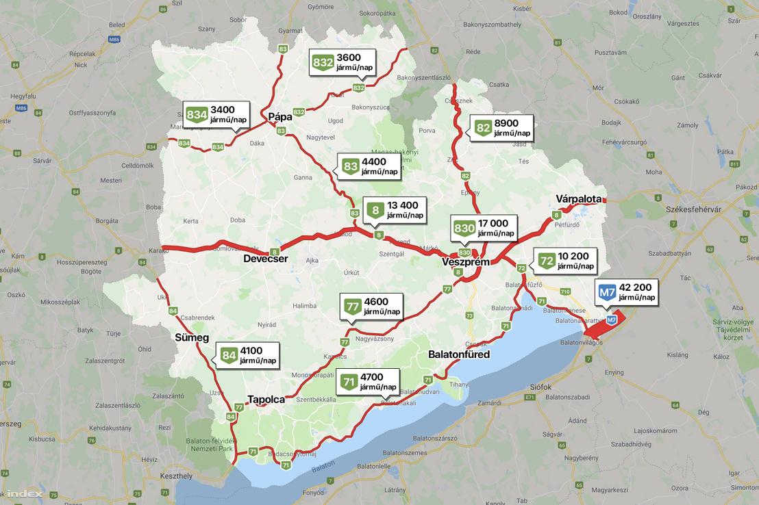 Veszprém megye legforgalmasabb útjai (térképünk a Magyar Közút Zrt. legfrissebb adatai alapján készült)