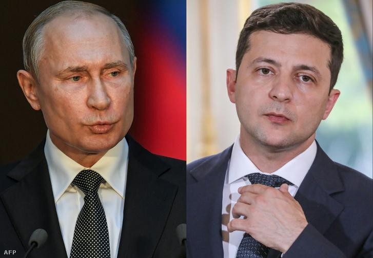 Vlagyimir Putyin (balra) orosz és Volodimir Zelenszkij ukrán elnök