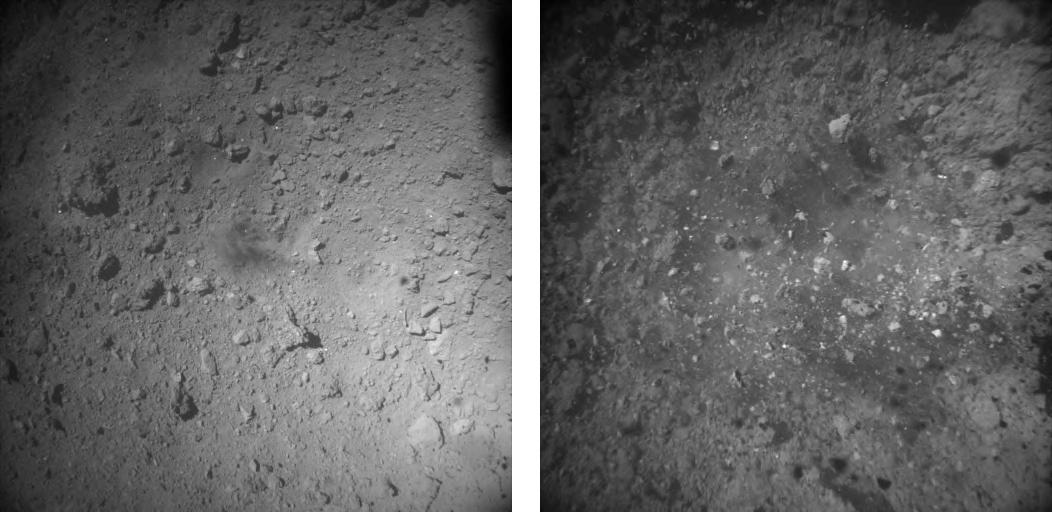 Július 11-én készült fotók a Ryugu mesterséges kráteréről