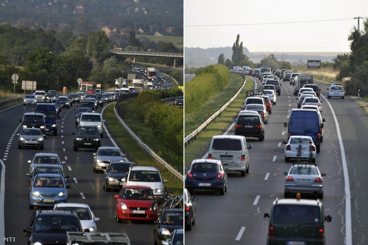 Araszoló autók az M7-es autópályán a Balaton felé vezető oldalon Tárnok közelében.