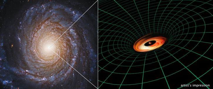Balra: az NGC 3147 a Hubble felvételén, jobbra: így nézhet ki az észlelt gázlemez