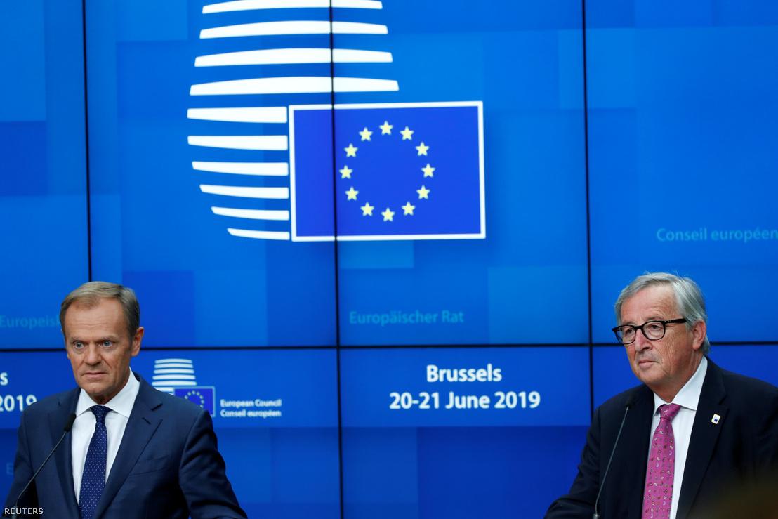 Donald Tusk és Jean-Claude Juncker brüsszeli sajtótájékoztatón 2019. június 21-én