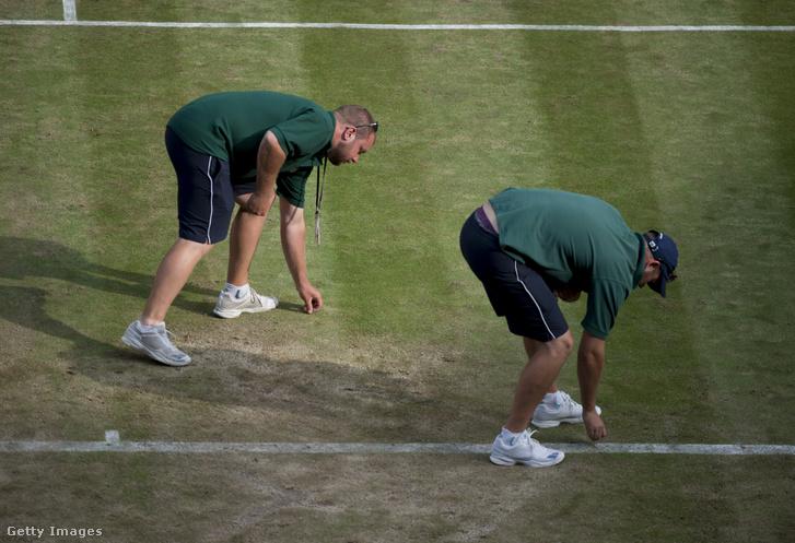 Pályamunkások szedik fel a kiesett fűdarabokat Wimbledonban