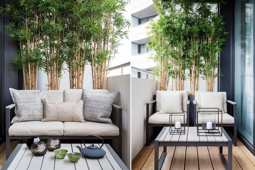 A letisztult, minimalista bútorok és kiegészítők mellett a bambuszok keleties hangulatot teremtenek. Egy ilyen terasz ideális elmélkedésre és megpihenésre.
