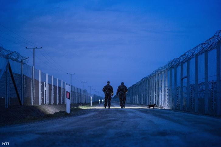 Katonák járőröznek az ideiglenes biztonsági határzár mellett a magyar-szerb határon