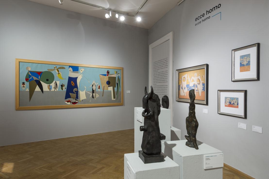 Korniss Dezső: Tücsöklakodalom (1948). Nagyszabású kép egy jelentős neo-avantgárd művésztől. Ezt az irányzatot konstruktív-szürrealizmusnak szokás nevezni.