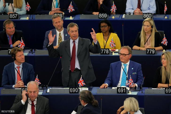 Nigel Farage, a Brexit Párt vezetője az Európai Parlamentben 2019. július 16-án