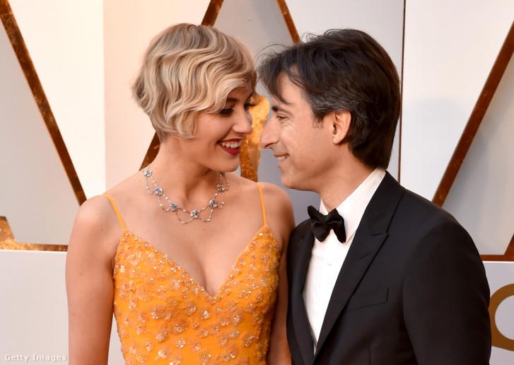 Greta Gerwig és Noah Baumbach a 2018-as Oscar-gálán