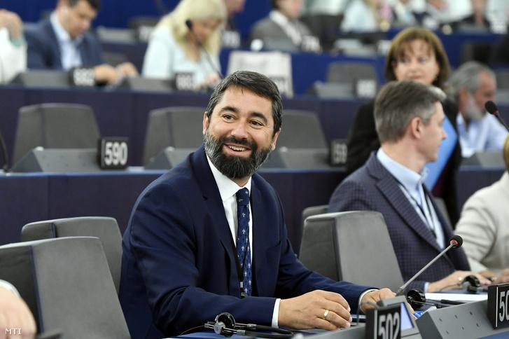 Hidvéghi Balázs, a FIDESZ-KDNP képviselője az Európai Parlament (EP) plenáris ülésén Strasbourgban 2019. július 16-án