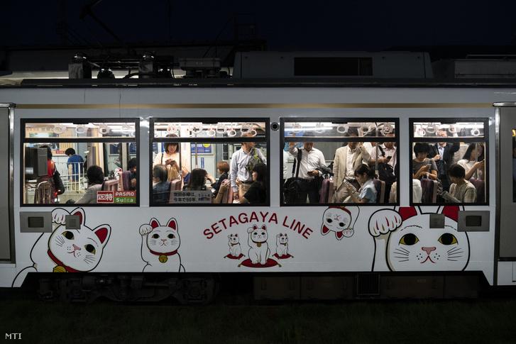 2019. június 25-i kép egy integető macskákkal díszített helyi vonatról Tokió Szetagaja nevű városrészében