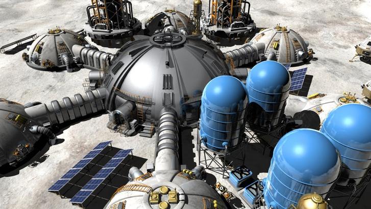 Koncepciórajz a Holdon épített ipari üzemekről