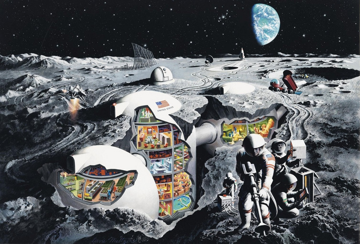 Retró fantáziarajz a Holdon bányászó űrhajósokról (1969)