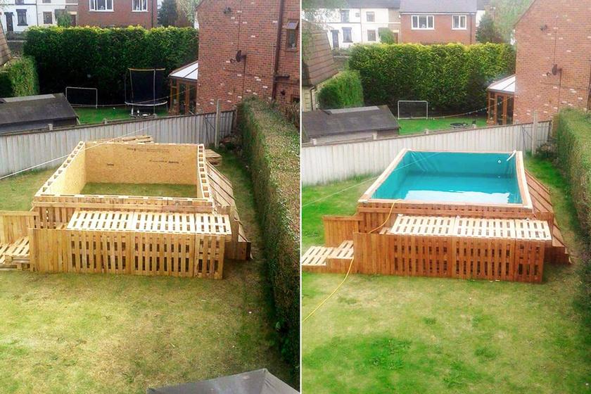 Elképesztő munka lehetett megépíteni raklapokból ezt a hatalmas kerti medencét, de hogy mennyire fogja bírni a tél kihívásait, az már kétséges.