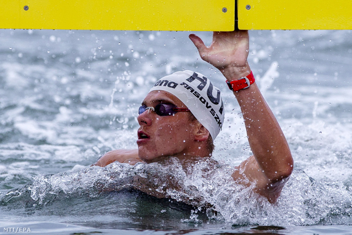 Rasovszky Kristóf a nyíltvízi úszók 5 kilométeres csapatversenyében a 18. vizes világbajnokságon, a dél-koreai Joszuban 2019. július 18-án.