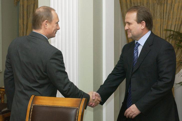 Vlagyimir Putyin és Viktor Medvedcsuk találkozója 2004. április 16-án.