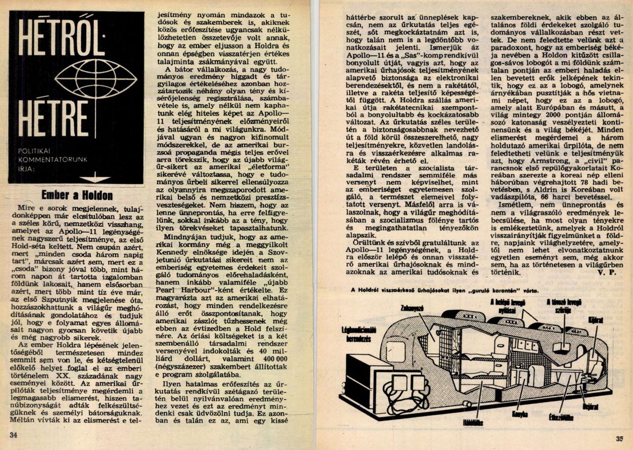 """Az Igaz Szó, a néphadsereg lapja augusztusi számában szigorú írásban kezeli helyén az ellenséges USA eredményeit: """"Örültünk és szívből gratuláltunk az Apollo—11 legénységének [...] De nem feledtette velünk azt a paradoxont, hogy az emberiség békéje nevében a Holdon kitűzött csillagos-sávos lobogót a mi földünk számtalan pontján az emberi haladás ellen bevetett erők jelképének tekintik, hogy ez az a lobogó, amelynek árnyékában pusztítják a hős vietnami népet, hogy ez az a lobogó, amely alatt Európában és másutt, a világ mintegy 2000 pontján állomásozó katonaság veszélyezteti kontinensünk és a világ békéjét. Minden elismerést megérdemel a három holdutazó amerikai űrpilóta, de nem feledtetheti velünk e teljesítményük azt, hogy Armstrong, a """"civil"""" parancsnok első repülőgyakorlatait Koreában szerezte a koreai nép elleni háborúban végrehajtott 78 hadi bevetésben, s Aldrin is Koreában volt vadászpilóta, 66 harci bevetéssel."""""""