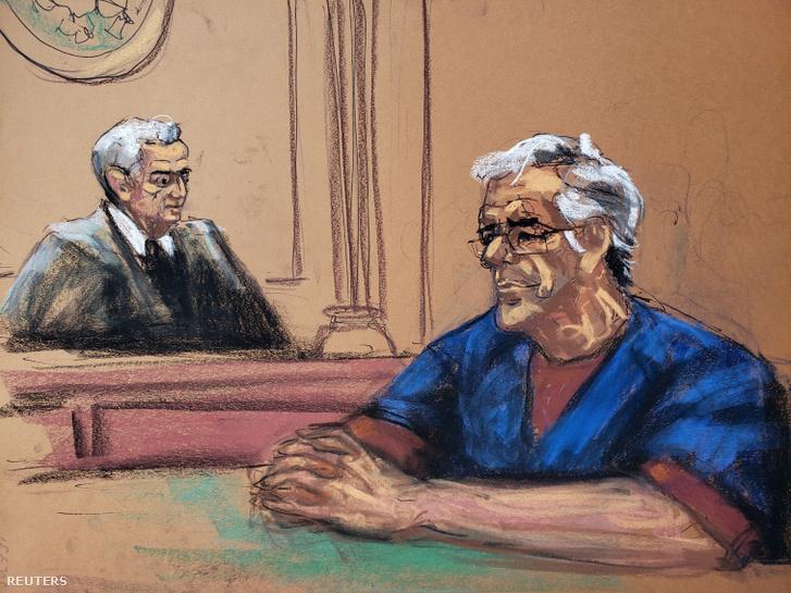 Jeffrey Epsteinről (jobbra) készült skiccrajz a New York-i tárgyaláson 2019. július 18-án