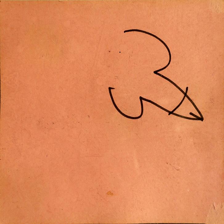 Andy Warhol rajza a Holdmúzeum 1969-en, a hivatalos magyarázat szerint A és W kezdőbetűk kalligrafikusan összevonva
