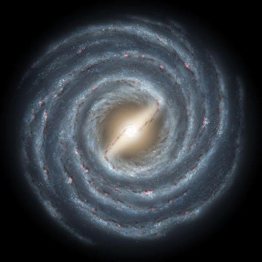 Fantáziarajz a Tejútrendszerről. A HD 160617 katalógusjelű, 12 milliárd éves csillag galaxisunk halvány halójában található.